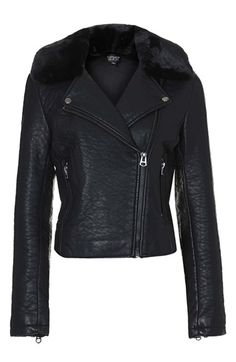 A fashion must!!! Everyone needs a moto jacket. Topshop Faux Leather Jacket with Removable Faux Fur $110.00