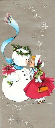 Little Girl and Snowman Vintage Christmas Card