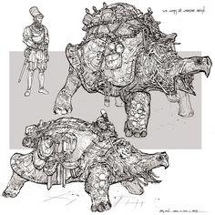 Feng Zhu Design - Giant Tortoise as Pack animals