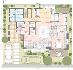 Flat Plan, Craftsman Floor Plans, Japanese House, Home Design Plans, Interior And Exterior, House Plans, House Design, How To Plan, Architecture