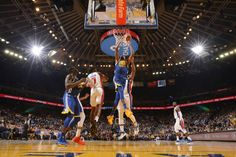 Kevin Durant of the Golden State Warriors dunks against the Detroit Pistons on October 29 2017 at ORACLE Arena in Oakland California NOTE TO USER...