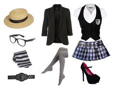 """""""st trinians"""" by sherlockallday ❤ liked on Polyvore featuring Dorothy Perkins, Warehouse, Falke, Promise Shoes, Forever 21, Topshop and GUESS"""