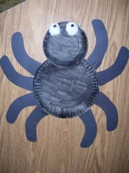 "Paper Plate Spider- YAY!!! - I did this but I mad the legs too small, so instead of 2 plates, I cut the ""fringe"" part off and shaped the top of the plate into the head. Looks cool and the little guy loved gluing the legs on"