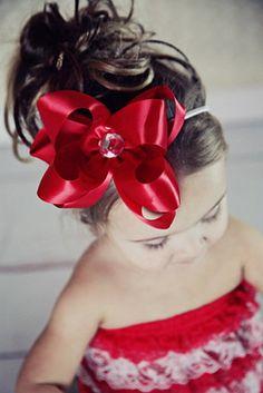 Elegant hair bows | red satin hair bow valentines hair bows pageant hair bows