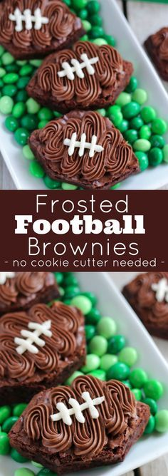 Frosted Football Brownies - Brownies frosted with chocolate and vanilla buttercream to look like a football! No cookie cutter needed!
