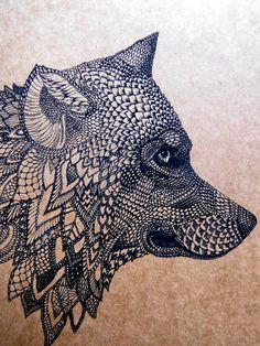 Original Art Postcard, detailed hand drawing of a Wolf, black on recycled brown paper. $3.50, via Etsy.