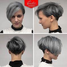 Silver Grey, knip+kleur door Natalie #kinkikappers #kinkisalon #dealwithit #greyhairdontcare #hair #lorealpro #shorthair