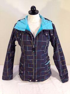Burton Women Dryride Snowboard/Ski Waterproof Blue Plaid Jacket Size Small S #Burton