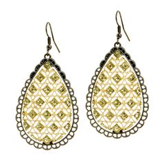 Old World splendor with a modern vibe. The Louisa drop earrings feature crystals imbedded in gold filigree with an oxidized scalloped edge.