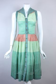 Pastels! \\ 50s BARBETTE DAY DRESS Colorful Striped by regenerationclothing, $125.00