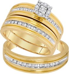 Yellow Gold Women's Bridal Set + Men's Band Round Diamonds Trio His and Her Rings Set (0.35ct. tw)- 40493878