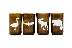 Canadian Animal Tumblers- Upcycled glasses made from beer bottles! Made by Artech Glassblowing Studios in Tory Hill, Ontario. Bottle Washer, Canadian Animals, Craft Sale, Woodland Animals, Recycled Glass, Art Market, Pint Glass, Mugs, Beer Bottles