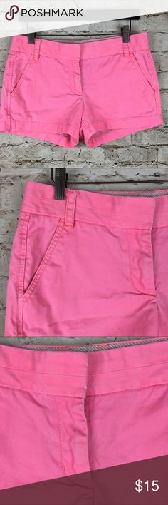 """J.Crew Chino """"Broke-In"""" Pink Mini Shorts Perfect Chino shorts by J.Crew in a very pretty summer color.  Good used condition, with some signs of normal wear and minor fade stain in the front, please see the pictures. Waist - 15"""", Length - 11"""", Inseam - 3"""", Rise - 8 1/2"""". J. Crew Shorts"""
