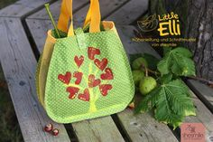 Kinderhandtasche Little Elli als Herbst-Sammeltasche mit Tüll-Netz (Eine Nähanleitung mit Schnittmuster von shesmile) Der Herbst ist da! Raus in die Natur zum Kastanien-Sammeln!