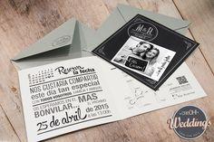 Para M&R diseñamos una invitación moderna con tonos Blanco&Negro y acabados de impresión metalizados. Mucho más en www.creohweddings.com