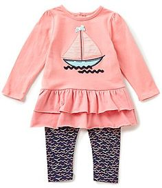 Starting Out Baby Girls 12-24 Months Sailboat-Appliquéd Tunic & Printed Leggings Set