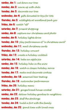 December and Christmas Bucket List