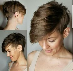 pin on hair your next adventure try a short pixie cut 50 s montego glover casual short straight pixie hairstyle … Short Hair With Bangs, Short Hair Cuts, Short Hair Styles, Pixie Styles, Short Pixie Haircuts, Pixie Hairstyles, Shaved Hairstyles, Undercut Hairstyles, Brown Pixie Cut