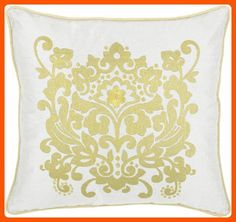 Rizzy Home T-3893 Decorative Pillows, 18 by 18-Inch, Yellow/White - Improve your home (*Amazon Partner-Link)
