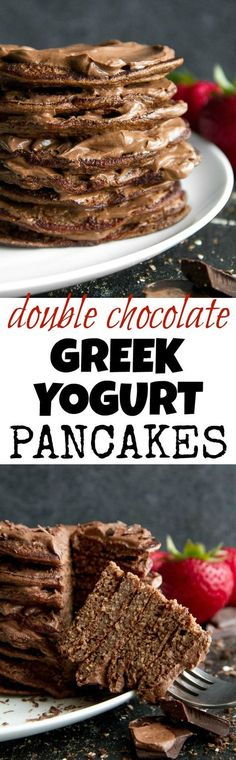 Healthy Double Chocolate Greek Yogurt Pancakes - light, fluffy, and loaded with chocolate flavour! These healthy blender pancakes will keep you satisfied all morning with over 26g of whole food protein. | runningwithspoons... #recipe #glutenfree #breakfast