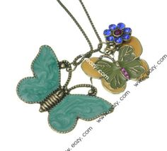 74cm Butterfly Blue Sweater Chain Necklace Jewelry Vintage Charms