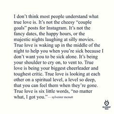 "REKLAMLAR Source I don't think most people understand what true love is. It's not the cheesy ""couple goals"" posts for … Cute Love Quotes, Lesbian Love Quotes, True Love Quotes For Him, What's True Love, What Love Is Quotes, Strong Love Quotes, Love Is Strong, I Love People Quotes, Being In Love Quotes"