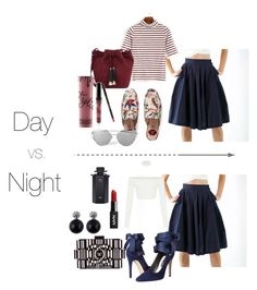 """""""Culottes Day Vs. Night Outfit"""" by shopluzzo on Polyvore featuring Gucci, Loeffler Randall, Alice + Olivia, Chanel, Kylie Cosmetics, falltrend, culottes and shopluzzo"""
