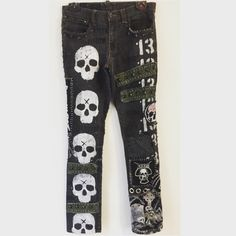 Skull jeans from ChadCherryClothing. Distressed rocker jeans by Chad Cherry. Bad Fashion, Skull Fashion, Mens Fashion, Punk Outfits, Boy Outfits, Patched Jeans, Men's Jeans, Heavy Metal Fashion, Streetwear Jeans