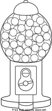 Gum ball machine coloring page