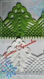 Resultado de imagem para barradinhos em croche para panos de prato telma rocha croche Crochet Edging Patterns, Crochet Lace Edging, Crochet Motifs, Crochet Borders, Thread Crochet, Crochet Doilies, Crochet Flowers, Crochet Baby, Knitting Patterns