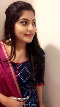 South Indian film actress Manjima Mohan new picture gallery. Latest hd image gallery of Manjima Mohan. Casual Indian Fashion, Indian Fashion Dresses, Indian Gowns Dresses, Dress Indian Style, Indian Designer Outfits, Women's Fashion, Simple Kurta Designs, Kurta Designs Women, Saree Hairstyles