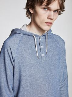 Makia Henley Hooded Sweatshirt is a relaxed melange hoodie with a button up neck closure. Hooded Sweatshirts, Hoodies, Button Up, Closure, Spring, Mens Tops, Jackets, Clothes, Fashion