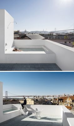 DESIGN DETAIL – A Rooftop Bathtub And Shower - José Adrião Architects included a bathtub and shower on the roof of this home they designed, which overlooks the city of Lisbon, Portugal. Exterior Design, Interior And Exterior, Modern Outdoor Living, Outdoor Bathtub, Rooftop Terrace, Rooftop Design, Bathroom Design Luxury, Pool Designs, Bathroom Inspiration