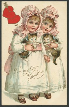 A/S ELLEN ANDREWS VALENTINE PC Two Cute Girls Hold Kittens RARE Nister #ValentinesDay