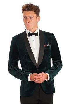 Moss London Slim Fit Green Shawl Velvet Jacket