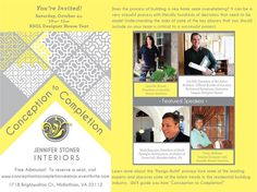 Free tickets@ Eventbrite: http://www.eventbrite.com/e/conception-to-completion-the-design-build-process-registration-13253301983?aff=efbevent    Learn latest trends from leading experts.Featured Speakers include: Jennifer Stoner, President of Jennifer Stoner Interiors,Tracy deShazo, Interior Designer w/ Jennifer Stoner Interiors,Joe Hill, Pres. of Bel Arbor Builders & Official Builder of 2014 RSOL Designer House, Mark Spangler, Pres. of Spangler Architecture & Dover Hall architect.