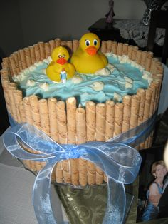 Cute baby shower cake!  For boy or girl - just change the ribbon color!
