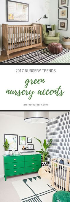 2017 Nursery Trends: The Green Nursery. Pantone announced their color selection for the year a few weeks ago, and it's causing us to see green in the future. This hue, in all shades, is great for gender neutral nurseries or for those that like an organic, earthy feel.