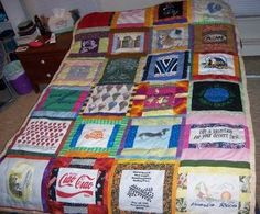 EASY!-Make Scrappy T-shirt Quilts to use up your old t-shirts and your leftover quilting scraps. Each t-shirt block is bordered with fabric strips from your stash to colorfully frame your t-shirts. This quilt is quick-turned and tied for easy construction!