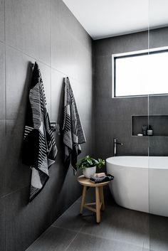 If you have a small bathroom in your home, don't be confuse to change to make it look larger. Not only small bathroom, but also the largest bathrooms have their problems and design flaws. Black Tile Bathrooms, Modern Bathroom, Small Bathroom, Bathroom Bath, Bathroom Ideas, Luxury Bathrooms, Bathroom Vanities, Grey Floor Tiles Bathroom, Serene Bathroom