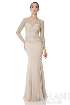 Mother of the bride dress with beautiful tiny pearl encrusted swill lace bodice. This elegant formal gown is finished with a soft tonal chiffon panel skirt.