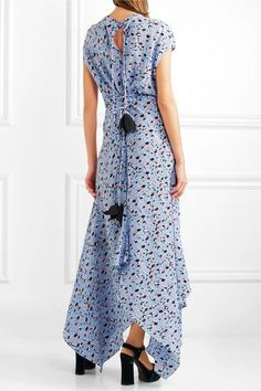 Marni - Printed Silk Crepe De Chine Maxi Dress - Blue