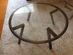 Coffee Table With Glass Top 850mm Round. Wrought Iron Legs & Structure