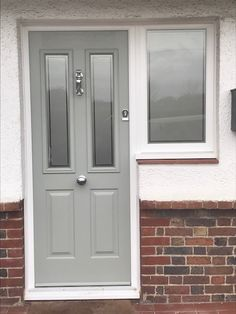 Painswick Green is becoming so popular now. Here is a beautiful example of a Ludlow Solidor Door with Victorian etc in door and side window. Solidor Composite Doors Call us on 02086444224 to arrange a quote. Cottage Front Doors, Victorian Front Doors, Grey Front Doors, Front Door Porch, Beautiful Front Doors, Front Doors With Windows, Front Porch Design, House Front Door, Painted Front Doors