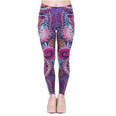 Zohra Fashion Retro Women Legins Mandala Flowers Pink Printing Legging Woman Cozy High Waist Leggings