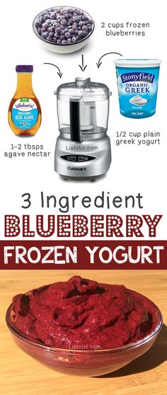 Healthy 3 Ingredient Blueberry Frozen Yogurt -- Quick, easy and healthy 3 ingredient snacks for kids, teens and adults! The perfect guilt-free treats and desserts! These recipes are perfect for weight loss and health. Listotic.com