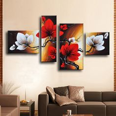 Abstrata moderna Pintura A Óleo Da Flor Pintado À Mão Parede Branca Vermelha arte Da Lona 4 Painel de Decoração Para Casa Imagem Para Sala de estar venda