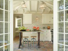 Reclaimed Wood Kitchen Island - Cottage - kitchen - At Home in Fairfield County Brick Flooring, Kitchen Flooring, Wood Kitchen Island, Kitchen Cabinets, Kitchen Brick, Beautiful Kitchens, Cool Kitchens, White Kitchens, Dream Kitchens