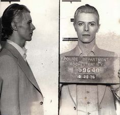 David Bowie arrested on felony possession - mugshot 1976 {via Imgur}