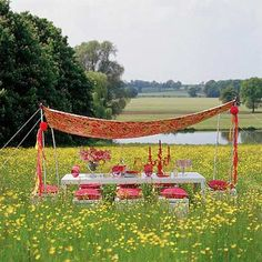 picnic under a diy canopy in a field of wildflowers